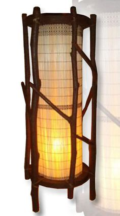 bamboo wood desk lamp lantern antique home decor  10123