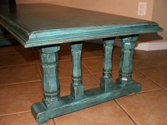 Distressed turquoise table
