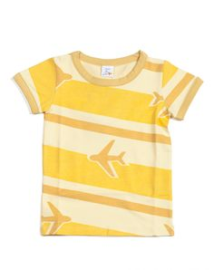 T-shirt Avion geel Dis Une Couleur T-shirt Jongen