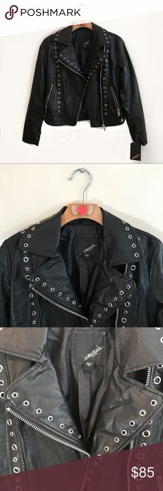  BLACK FAUX LEATHER MOTO JACKET Size XS BLACK MOTO JACKET Size XS. Collection B Jackets & Coats