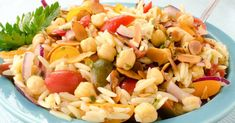Chickpea, Tomato and Orzo Salad #Chickpea #garbanzobeans #garbanzos #chickpeas #cook #dinner #vegan #veganrecipes #veganfood #healthylifestyle #healthy #healthyfood #nutrition Feta Cheese Recipes, Orzo Salad Recipes, Chickpea Salad Recipes, Pasta Salad, Vegetarian Recipes, Healthy Recipes, Cooking Garbanzo Beans, Recipe Directions, Healthy Eating Habits