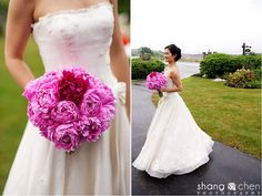 Beautiful dark pink peony wedding bouquet for Mengmengs wedding.