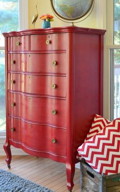 I love red painted furniture but not sure I could paint a piece red and find a place for it in my house. I& more of a blues and greens, cool colors kinda gal, but this is so stunning. Red Painted Furniture, Chalk Paint Furniture, Repurposed Furniture, Furniture Projects, Furniture Making, Furniture Makeover, Vintage Furniture, Diy Furniture, Dresser Makeovers