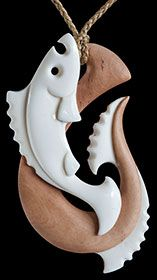 Fish and Hook Bone Carving by Kerry Thompson    www.boneart.co.nz
