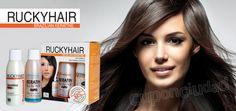 Pelo Perfecto con un Alisado Brasileño con Keratina Rucky Hair Shampoo Clarificante + Keratina + Shampoo Diario + Rinse + Leave-IN