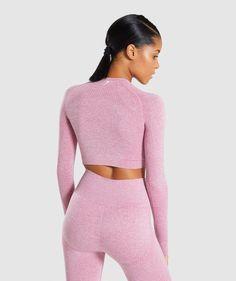 c8cac5e79fc2a1 Gymshark Vital Long Sleeve Crop Top - Dusky Pink Marl