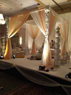 Beautiful Fabric Mandap at Marriott, Augusta, GA, by Sarita Goel of Aayojan Decorators of Atlanta, GA Indian Wedding Decorations, Wedding Ceremony Decorations, Phoenix, Backdrops, Atlanta, Events, Fabric, House, Beautiful