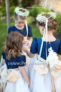 Pegeen.com Wedding of the Month - October 2014 features Custom Flower Girl Dresses Style 802 in Navy Blue silk with a ruffled sash and hand rolled flowers made from real habotai silk ~  Located 1 mile from Disney World, Selling online and shipping world wide. Call us for design help! 407-928-2377