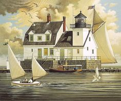 "Charles Wysocki Fine Art Anniversary Giclée Canvas:""Rockland Breakwater Light"" - New Arrivals"