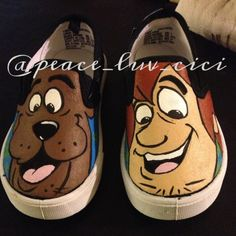 custom handpainted scooby doo shoes by Cierra Whitney. #scoobydoo #handmade #handpainted #custom #shoes  for inquiries email - xpeace.luv.cicix@gmail.com
