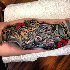 star wars millennium falcon tattoo by Polly Sands at Five Magic in Sheffield