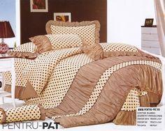 Lenjerie de pat bumbac Casa New Fashion pentru o persoana crem cu buline