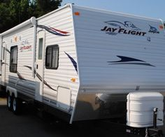 The Jayco Jayflight travel trailer is a full sized RV with 2 slide outs on either side. It has been used for less than a year and is up for sale as the owner has upgraded to another RV. When the slide outs are operated and spanned out, it creates humongous space in the interiors.