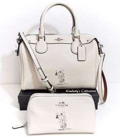 86cefa1a9b COACH X Peanuts SNOOPY Ltd. Mini Bennett White Satchel Bag  amp  Cosmetic  Case NEW