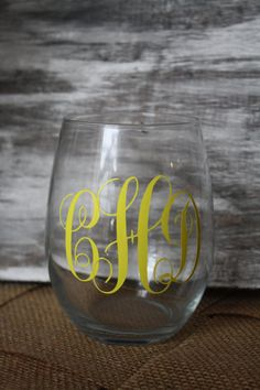 Monogrammed Stemless Wine Glass by TheGreenGiftCompany on Etsy, $8.00