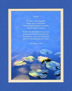 Personalized Friendship Gift with Wonderful Friend Poem. Water Lily Leaves Photo 810 Double Matted. Special Friend Gifts for Christmas Birthday Review