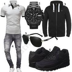 Schwarz-Weißes Herrenoutfit mit Poloshirt und Jeans #poloshir #jeans #schwarz #grau #outfit #style #fashion #ootd #herrenmode #männermode #outfit #style #fashion #menswear #mensfashion #inspiration #menstyle #inspiration