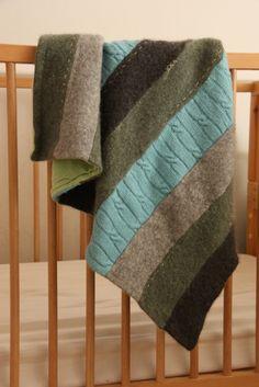 recycled sweater + sweatshirt blanket