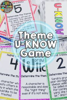 Finding the theme can be difficult for students to grasp.  Have them practice theme with this fun and engaging game!  Students beg to practice and they are learning, too!