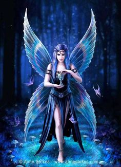Anne Stokes greeting card Elf: Enchantment - This magical elf creature adorns the perfect greeting card for every fantasy fan. Beautiful Fantasy Art, Beautiful Fairies, Dark Fantasy Art, Anne Stokes, Illustration Fantasy, Elfen Fantasy, Fairy Pictures, Gothic Fairy, Fantasy Kunst