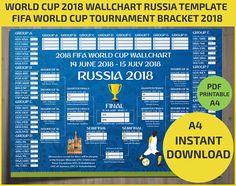 Wallchart FIFA 2018 World Cup Russia PDF / Printable/ Bracket / Mondial / Template / Calendar / Planner / Match Schedule / Spreadsheet / A4