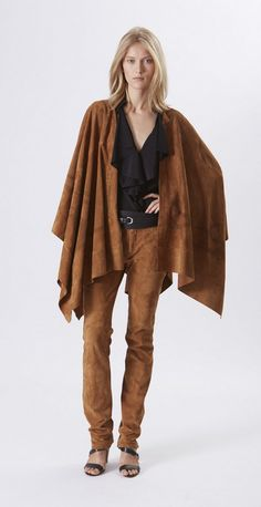Ralph Lauren Collection Pre-Spring 2016: Caramel suede cape, black crepe de chine shirt  and caramel suede pant