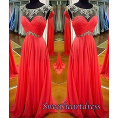 Pretty beaded coral chiffon long modest prom dress, homecoming dress, occasion dress for teens #coniefox #2016prom
