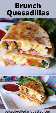 These brunch Quesadillas are a hearty brunch with bits of ham, cheese, spinach and eggs melted in a buttery tortilla. Served with a little salsa , this gives it a little punch of flavor. #brunch, #brunchquesadillas, #quesadillas, #leftoverham Brunch Recipes, Breakfast Recipes, Snack Recipes, Brunch Ideas, Breakfast Ideas, Tater Tot Breakfast, Breakfast Casserole, Quesadillas, Protein Packed Breakfast