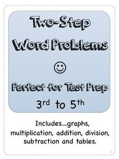 Free two-step math problems from 3rd, 4th, and 5th grade  Perfect for problem of the day, test prep, homework, or classroom. free!