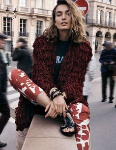 Paris....  in the new {I call it; dead, dread Red} 2015 on trend Color, Vogue Spain February 2015...