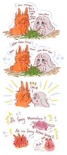 Friends ...  Drawn by racyue ... Free! - Iwatobi Swim Club, free!, iwatobi, bunny, rabbit , rin matsuoka, nitori, aiichiro nitori, aiaibunbun, rinrinbunbun, rin, matsuoka, momotaro, momotarou, momotarou mikoshiba, momotaro mikoshiba, momobun