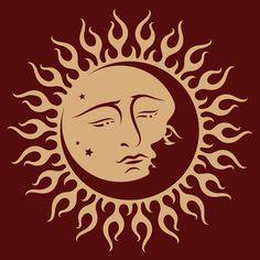 Sun and Moon Vinyl Wall Art Decal Sticker