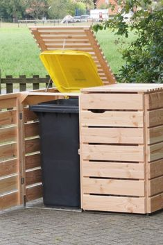 Shed Plans - Storage to Keep Your Garbage Undercover Now You Can Build ANY Shed . Shed Plans - Storage to Keep Your Garbage Undercover Now You Can Build ANY Shed In A Weekend Even If You've Zero Woodworking Experience! Garbage Can Storage, Garbage Shed, Trash Can Storage Outdoor, Woodworking Projects Diy, Diy Projects, Project Ideas, Woodworking Plans, Garden Projects, Outdoor Projects