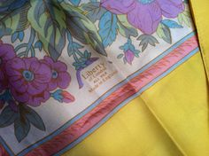 Vintage 1960s Liberty of London multicolor pastel floral silk scarf with pale yellow border