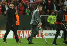 Manchester United's Swedish striker Zlatan Ibrahimovic raects after victory in the UEFA Europa League final football match Ajax Amsterdam v...