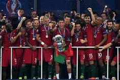 Portugal overcame the early loss of captain Cristiano Ronaldo to beat hosts France in the Euro 2016 final and win their first major tournament thanks to substitute Eder's superb extra-time st… Portugal Euro, France Euro, Uefa Euro 2016, Cristiano Ronaldo Cr7, We Are The Champions, News Around The World, European Championships, Sports Memes, Victorious