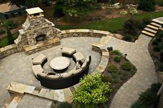 natural stone patio with deck - Google Search