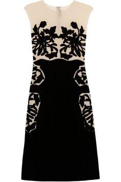 BOTTEGA VENETA  Velvet and silk-chiffon appliquéd dress  £2,206.32