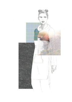 Fashion Sketchbook - fashion illustration with fabric inspirations; fashion collage // Ella Corsini-Riley