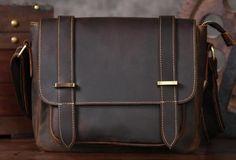 Handmade leather men Briefcase messenger vintage shoulder laptop bag vintage bag