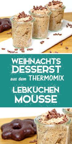 Dieses Mousse au Chocolate mit Lebkuchen ist ein Super einfaches Rezept und ein tolles Weihnachtsdessert. Du kannst es in kleinen Gläschen anrichten wie ein Dessert im Glas oder in einer Großen Schüssel zum selber nehmen. Egal wie, es kommt immer gut an und passt zu jedem Weihnachtsmenü. Schau auch unbedingt mal auf meinem Blog vorbei, dor findest du noch mehr tolle Ideen für den Thermomix.