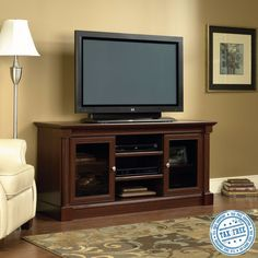 Home Entertainment Center Display Storage Console for Flat TV's up to Cherry