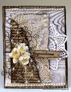 Lisas Kreative Univers, Filigree card with flowers Shabby Chic Cards, Beautiful Handmade Cards, Flower Quotes, Congratulations Card, Vintage Tags, Card Tags, Scrapbooking Layouts, Homemade Cards, Lisa