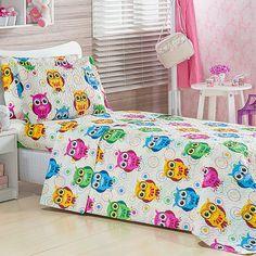 Cobre Leito Estampa Corujinhas Coloridas + porta Travesseiro
