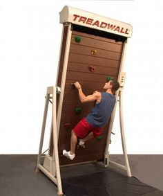 This is Brewer Ledge Inc's Treadwall. It's a vertical treadmill for rock-climbing. You can adjust the speed, as well as the angle of the wall from +5 to -20 degrees so you can even climb hanging upside down.