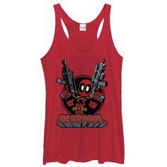 Marvel Women's - Deadpool Cartoon Guns Racerback Tank #fifthsun #deadpool #marvel