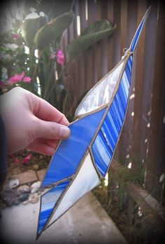 Bluejay Feather Stained Glass Suncatcher Made to by LotusLabs, $25.00