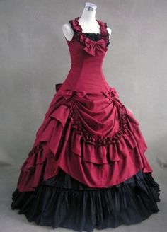 Without Sleeve Long Cotton Red Black Bow Drape Gothic Lolita Dress
