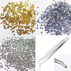 I.B.N Glitter Rhinestones Crystal AB Color SS12 3.0-3.2mm 3 Bags with 1pc Tweezer DIY Crafts Accessories Set * Click image to review more details.