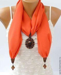 Шарфики с кулонами (в ассортименте) - однотонный,шарф женский,шарф с кулоном
